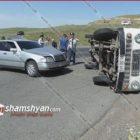 Խոշոր վթար Նուբարաշենում. Mercedes-ի հետ բախումից հետո «Երազ»-ը շրջվել է