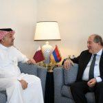 Արմեն Սարգսյանն այսօր հանդիպում է ունեցել Կատարի Պետության փոխվարչապետ և պաշտպանության նախարար Խալիդ բին Մոհամեդ Ալ Աթիյայի հետ